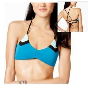 Bar III Strappy Colorblock Bikini Top Teal
